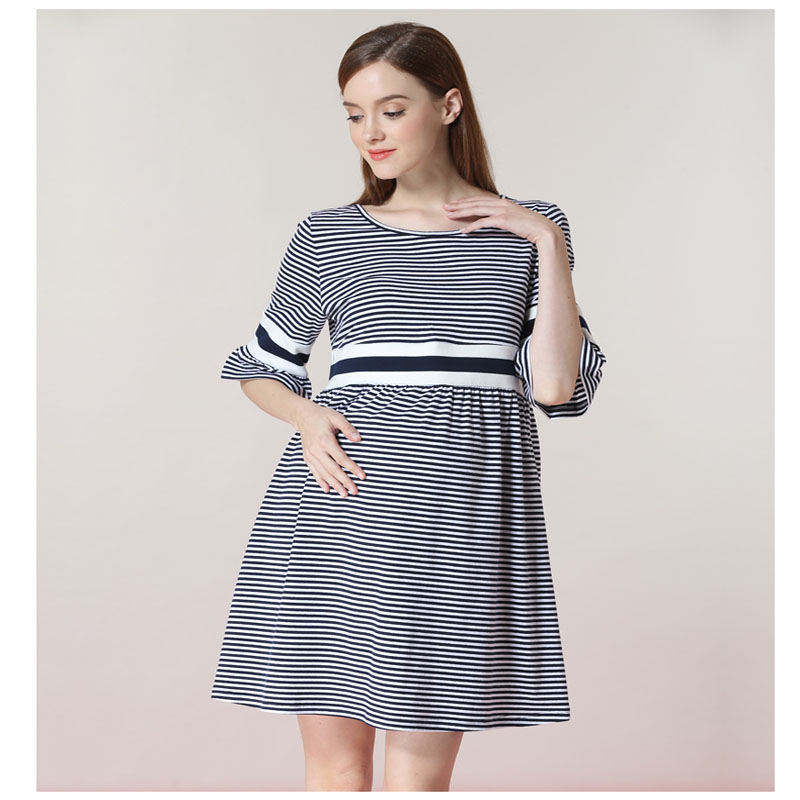 striped Stylish Ruffle Strapless Ties Waist Maternity Dress 2018 Summer Korean Fashion Clothes for Pregnant Women Pregnancy Wear
