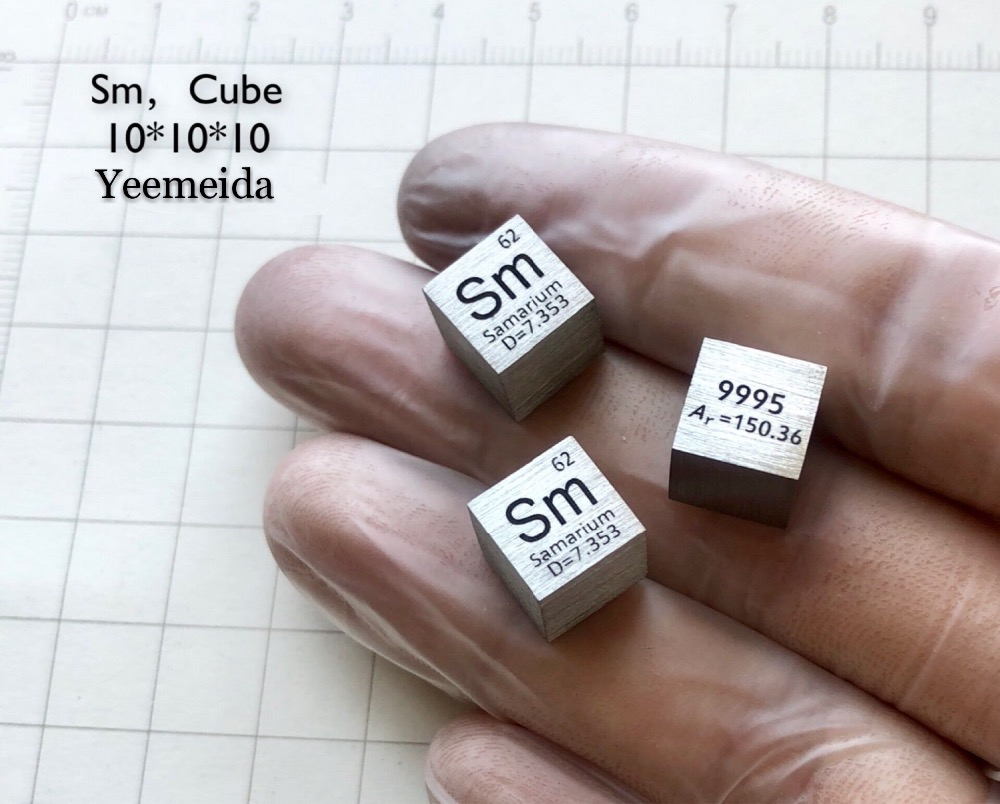 99 95 pure Samarium Sm rare earth Metal cube 10mm 7 45g