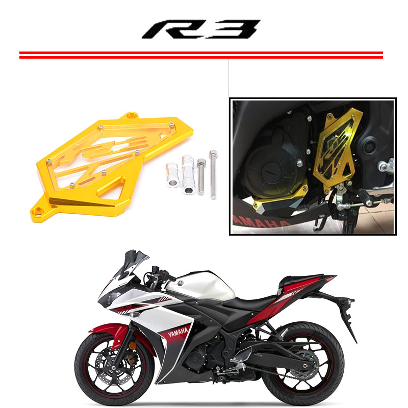 Motorbike CNC Aluminum Front Sprocket Chain Guard Cover Left Side Engine GOID For 2014 2015 2016 YAMAHA R3 R25 купить