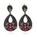 DC1989 Star Flower Black Dots Water drop Black Gold Plated Fuchsia Cubic Zirconia Lead free Drop earrings for women ZE52781