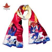 Women Luxury Brand 100% Silk Long Scarf Cat Logo Shawls and Wraps Walking Pretty Silk Art Scarfs Soft Touch