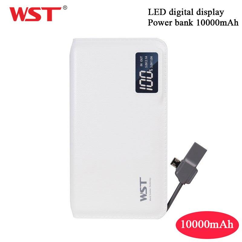 WST10000mAh Chargeur Portable Ultra Mince Batterie Li chargeur portatif en polymère avec Affichage Numérique LCD batterie de secours extra plate