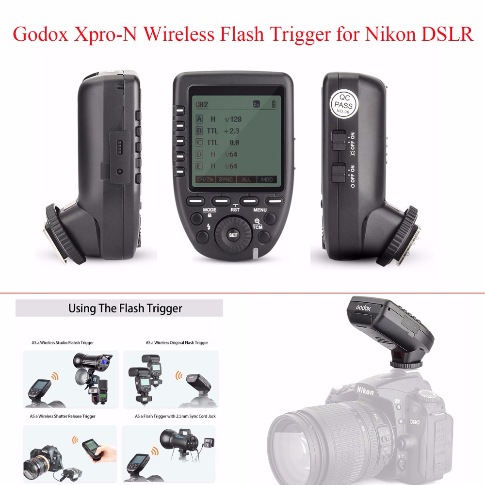 Godox Xpro-N TTL 2.4G Wireless Flash Trigger 1/8000s HSS TTL-Convert-Manual Function with LCD Screen Transmitter for Nikon DSLR godox x1t s ttl 2 4g wireless trigger for sony 2x xtr 16s flash receiver for v850 v860 c v850ii v860iic v860n v860ii f v850ii