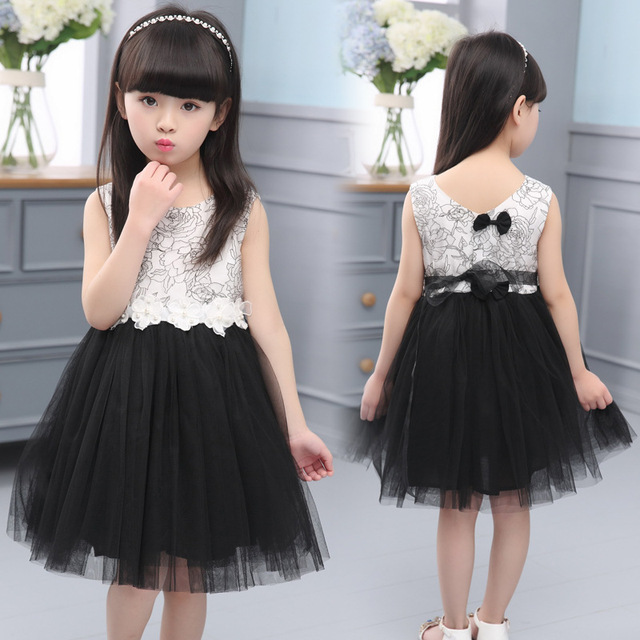 6877d390e 2016 Summer New Lace Vest Girl Dress Baby Girl Princess Dress 4-13 Age  Chlidren Clothes Kids Party Costume Ball Gown