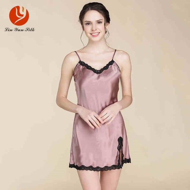 LIN YUN Real Silk Sleepshirt Woman's Sleep Silk Nightgown Lady Sleeveless Homewear Lace Female Strap Sleepwear Nightgown Women