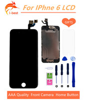 1pcs lcd display with digitizer home button and front camera replacement part assembly for iphone 6 lcd touch screen