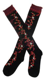 Dulce Lolita stocking Princesa real engrosamiento 100% algodón rodilla-alta vintagegothic medias negro y rosa roja