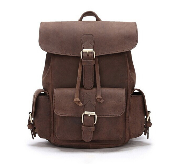 New Preppy Style Vintage Male Backpacks Casual Genuine Leather Shoulder Bag Fashion Multifunctional College Schoolbag C205 fashion denim backpack preppy style casual shoulders double shoulder bag schoolbag style blue x 59966