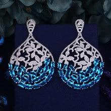 GODKI Marke Neue Heiße Mode Beliebtesten Luxus Wasser Tropfen Schmetterling Ohrring Voller Zirkonia Pflastern Ohrring 3,6 CM * 6CM
