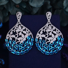 Godki Brand New Hot Fashion Populaire Luxe Water Drop Vlinder Oorbel Volledige Zirconia Pave Oorbel 3.6 Cm * 6 cm