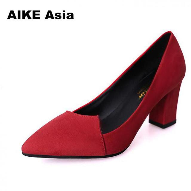827061dd0788 2018 Women Pumps Toe Mid Heels Dress Work Comfortable Ladies Shoes Rough  with Ankle Strap Thick Heel Women Shoes Square CS 1