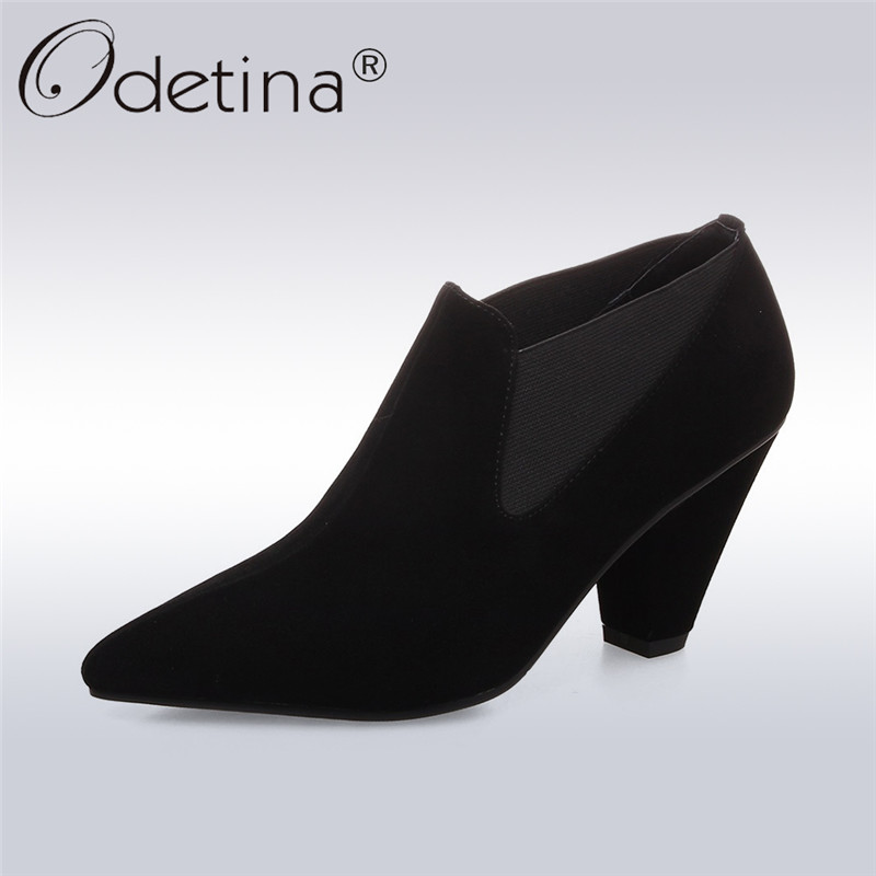 Odetina 2018 Fashion Women Elegant Spring Ankle Boots Pointed Toe Shoes Genuine Leather Shoes Slip On Spike High Heel Booties odetina fashion women pointed toe rivets loafers 2017 spring
