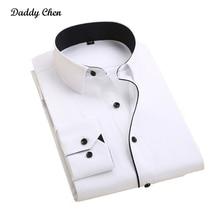 Casual dress shirt men slim fit wihte style male for boys shirts mens long sleeve designer maxi Fashion Business camisa black