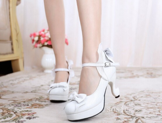 ФОТО White Heels Women Lolita Shoes With Unique High Heel 2017 New Arrival Bow Heels Ruffled Design Buckle Strap Free Shipping