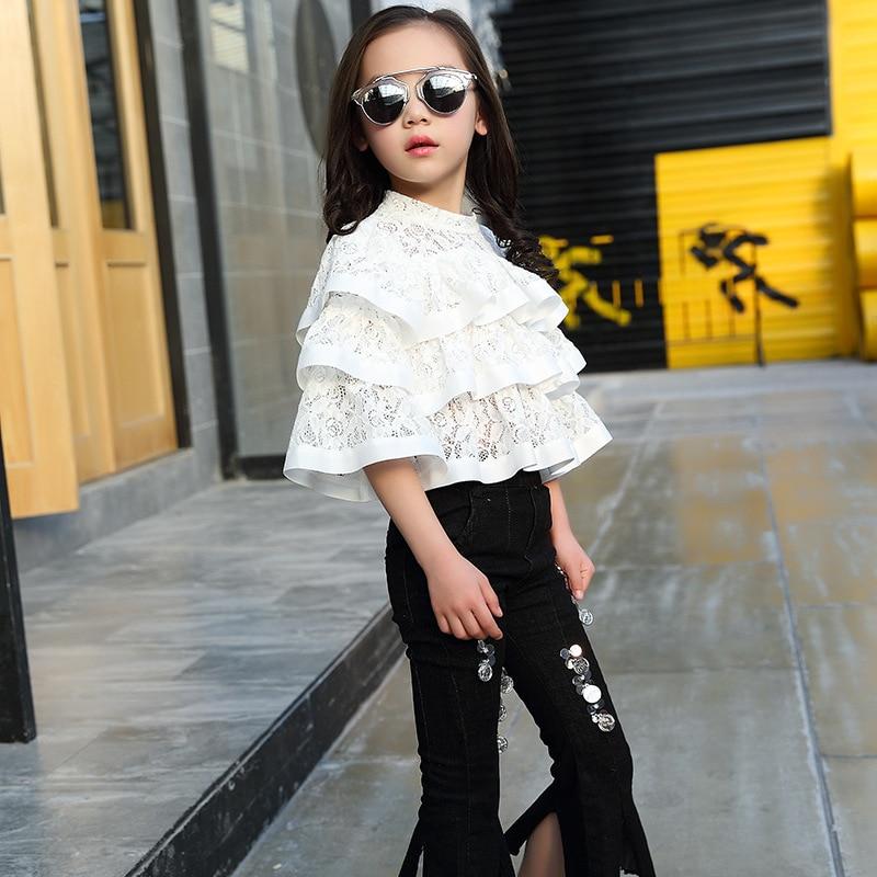 Girls Fashion Clothes Set 2017 Brand Children Clothing Autumn Harem White Lace Shirt + Pant 2pcs Kids Suit 3 4 5  67 8 9 10 11t