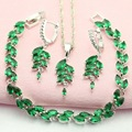 WPAITKYS Green Stone Silver Plated Jewelry Sets For Women Anniversary Necklace Set Necklace Hoop Earrings Bracelet Free Gift Box
