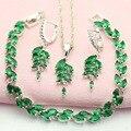 WPAITKYS Verde Piedra Plata Conjuntos de Joyas Para Las Mujeres Aniversario Collar Set Collar Pendientes de Aro Pulsera de Caja de Regalo Libre