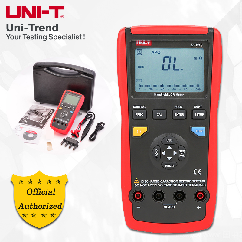 UNI-T UT612 100KHz LCR Meter; Frequency/Resistance/Inductance/Capacitor Test Table, Data Storage/Analog Bar Graph/Relative Mode
