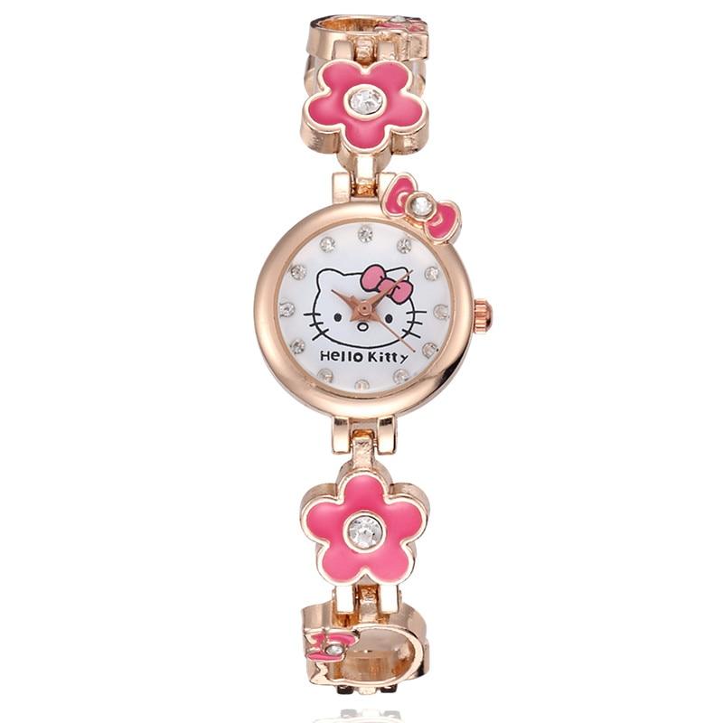 Children's Hello Kitty Women Watch Ladies Metal Fashion Girls Watches Kids Bracelet Wrist Watch Quartz Clock Gift Montre Enfant
