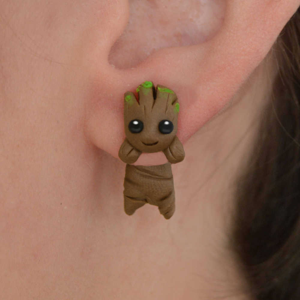TTPAIAI 30 New Design Handmade Polymer Clay Cute Groot Stud Earrings For Girls Kids Fashion Jewelry Women Cartoon 3D Earrings