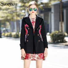Фотография SVORYXIU Designer Winter luxury Coat Women High Quality Long Sleeves Double Breasted Embroidery Vintage Black Overcoat Outwear