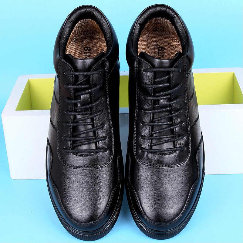BIMUDUIYU büyük boy erkek rahat sıcak ayakkabı hakiki deri peluş/tek dantel-up yarım çizmeler klasik siyah düz kış çizmeler