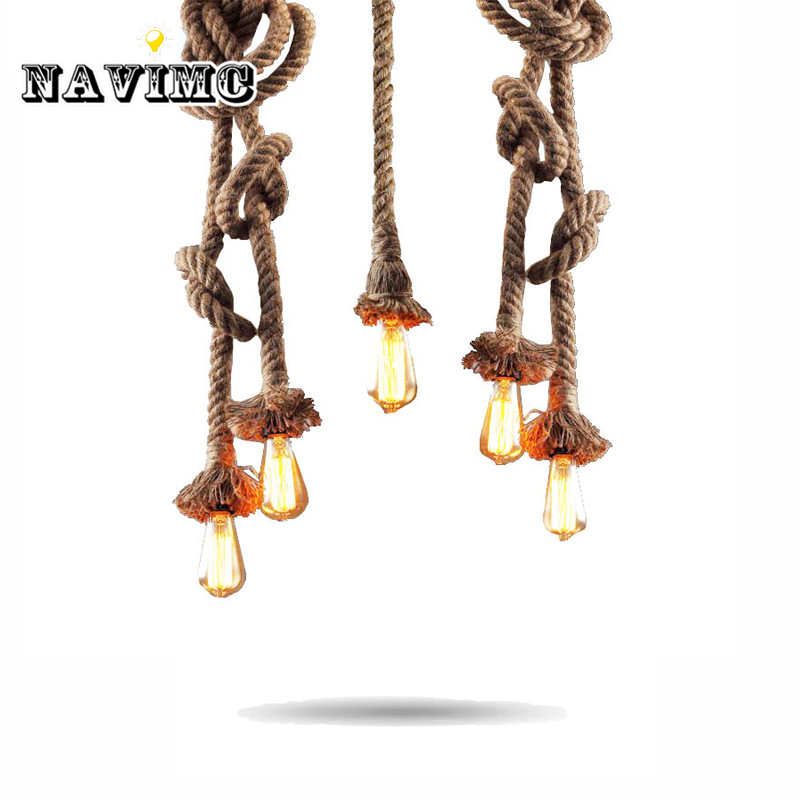 Retro Vintage Rope Pendant Light Lamp Loft Creative Personality Industrial Lamp American Style For Ding Living Room Restaurant american industrial hemp rope iron crystal pendant lights creative personality living room coffee shop 75cm retro pendant lamps