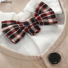 Niosung Baby Boy Formal Party Christening Short Sleeve Wedding Tuxedo Waistcoat Bow Tie Suit Kids Child Clothing Romper