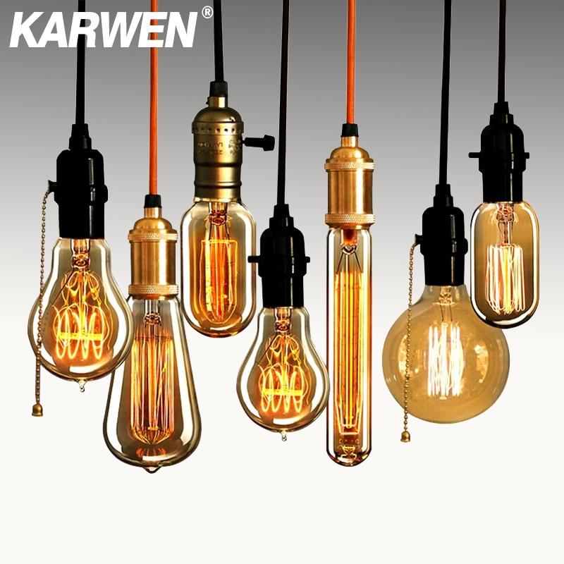 KARWEN Edison Bulb Lampada Retro Incandescent 40w Ampoule Antique Vintage Lamp E27 220V For Decor Filament Bulb Pendant Lights