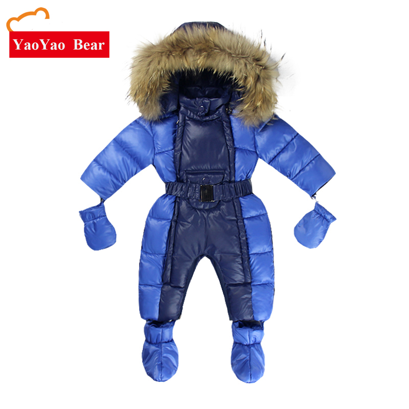 Newborn 3-12m Infant Romper Warm Clothes -10 to -30 Degree Suit for Russia Winter Girls Boys Baby Fur Gloves Snow Season цена 2017