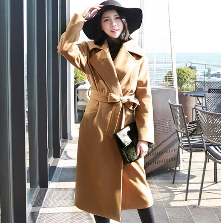 Khaki large lapel casual fashion ultra long cashmere loose wool coat women