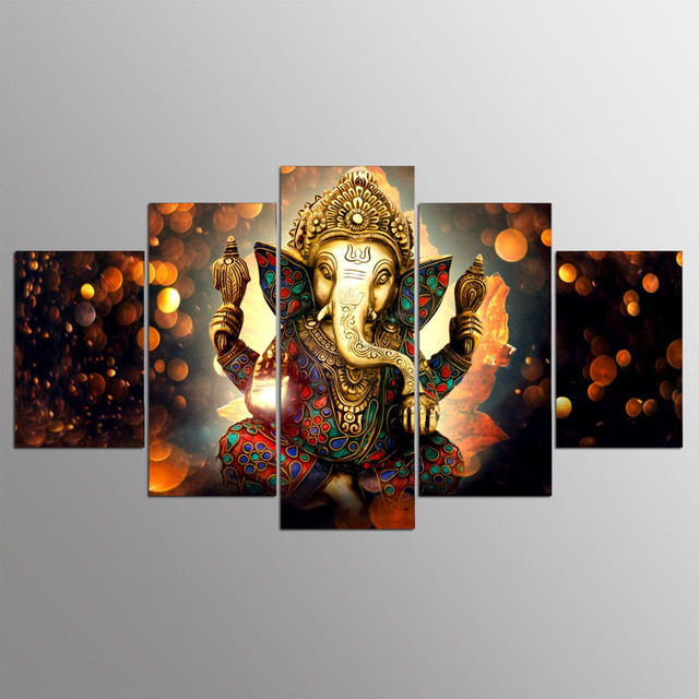 5 panel Modern Ganesh elephant trunk God hd Art print canvas art wall framed paintings for living room kn-506