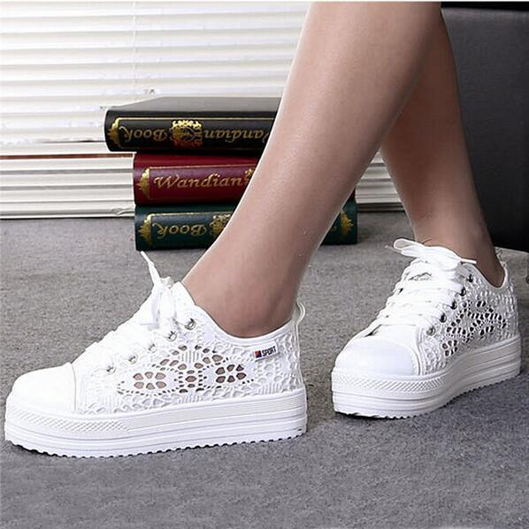 2017 New Breathable Platform Flat Shoe Floral Summer Women Shoes Casual Lace Can