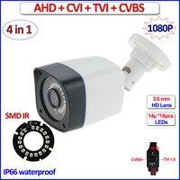 1080P HDCVI HDTVI CVBS AHD Camera IP66 Surveillance 4 In 1 2MP Night Vision Cctv Camera
