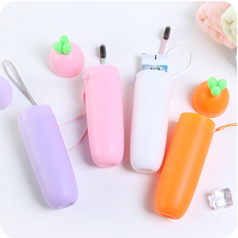 New 1Pc Portable Toothbrush Cap Box Cute Carrot Shape Toothbrush Cup Organizer Outdoor Travel Storage Cup Plastic Accessories image
