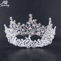 Full Round Circle Designs Tiaras Hair Combs Pearl Silver Finish Crystal Pearl Hair Styles Bridal Jewelry