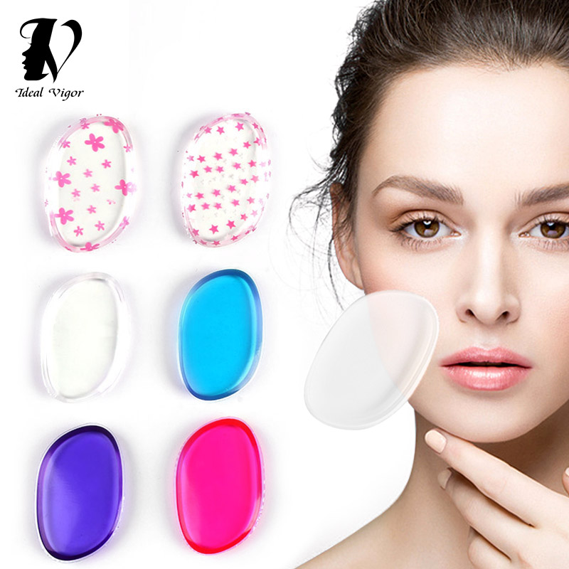 Ideal Vigor 1Pc/2pcs 8 Colors Puff Powder Make Up Silicone Sponge For Foundation Makeup Tools Accessories SiliSponge Blender 2pcs waterdrop sponge puff and 2pcs holder