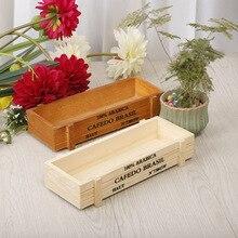 Vintage madera Doniczka jardín flor maceta suculenta maceta rectangular caja de canal lecho de planta original madera color almacenamiento maceta
