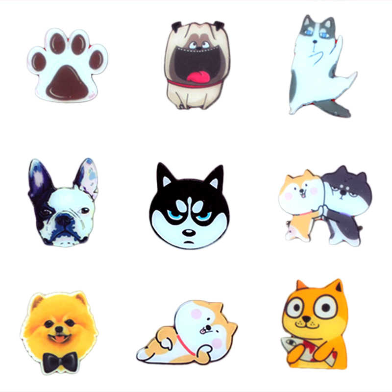 Cute Dog Bulldog Paw Cartoon Animal Acrylic Badges Brooch Icons DIY Backpack Icons Badges For Clothing Badge Pin Accessories