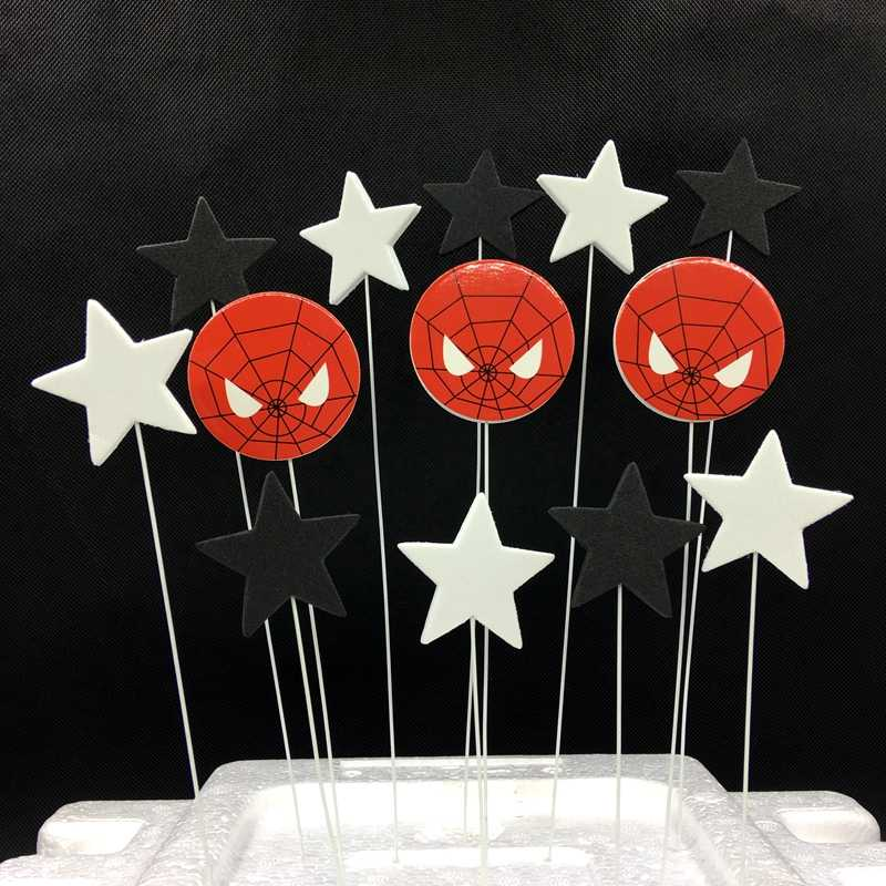 1 set/lote Spiderman Preto Pentagrama Estrelas Bolo Topper Espuma Branca Fio de Ferro Bandeira Do Partido Do Queque do Aniversário Dos Miúdos Decoração Suprimentos