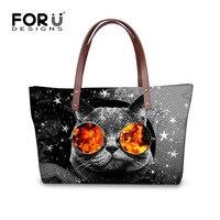FORUDESIGNS Kawaii Printing Cat Handbag for Youth Women Hipster Ladies Travel Tote Bag Original Design Female Shoulder Bag