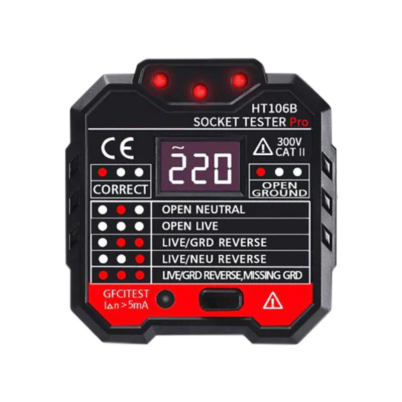 New Professional Electric UK Plug Socket Tester Auto Socket Voltage Detector Leakage Switch Tester LCD  Polarity Phase Check