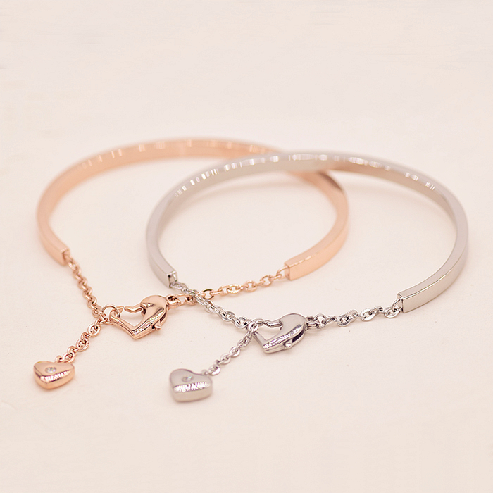 YUN RUO Top Brand Jewelry Rose Gold Silver Colors Heart Pendant Bangle Cuff Bracelet 316L Stainless Steel Fashion Woman Not Fade