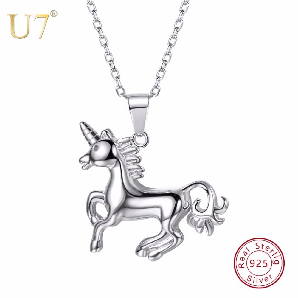 U7 100% 925 כסף הסוסים ריצה Unicorn בעלי החיים תליון & שרשרת 2018 מתנת יום האהבה שרשרת תכשיטי נשים SC39