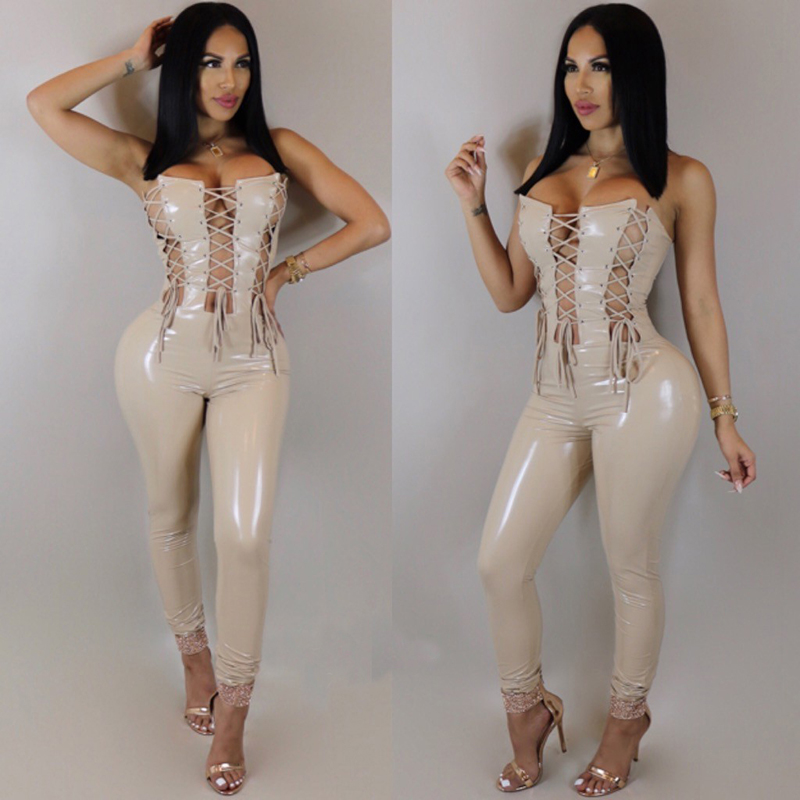 2018 New PU Leather Women Jumpsuit Sexy Bandage Lace Up Rompers Clubwear Backless Fashion Hollow Out Overalls Macacao Feminino