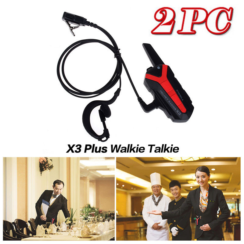 2x Intercom Walkie Talkie Long Range 2 way Radio UHF 400-470MHZ Earpiece X3 Plus m 860 uhf 8 channel 2 way radio twin walkie talkies