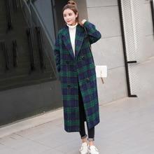Осень женские длинные шерстяные зимние пальто Куртки Теплый Зеленый Плед Шерстяное Пальто Женщин Верхняя Одежда Пальто Плюс Размер AK036