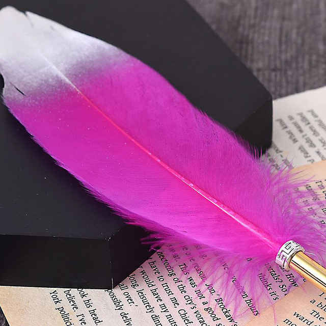 1Pc Cute Feather Ballpoint Pens Kawaii Plush Ball Pens Gold Powder Pens For Writing School Office Supplies Novelty Stationery 4