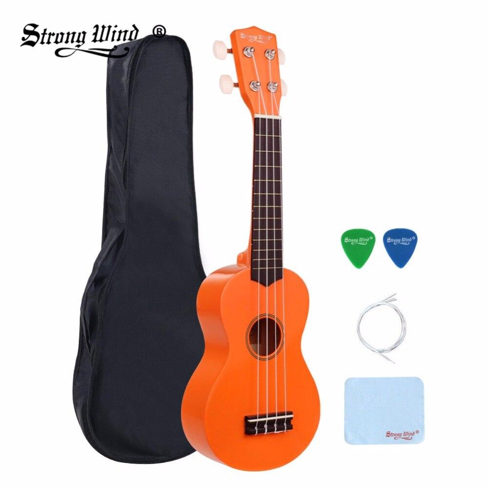 21 Inch Soprano Ukulele Acoustic Guitar Bass Maple ABS 4 Nylon Strings Soprano Ukelele Guitar Orange for Beginner Unisex Gitaar