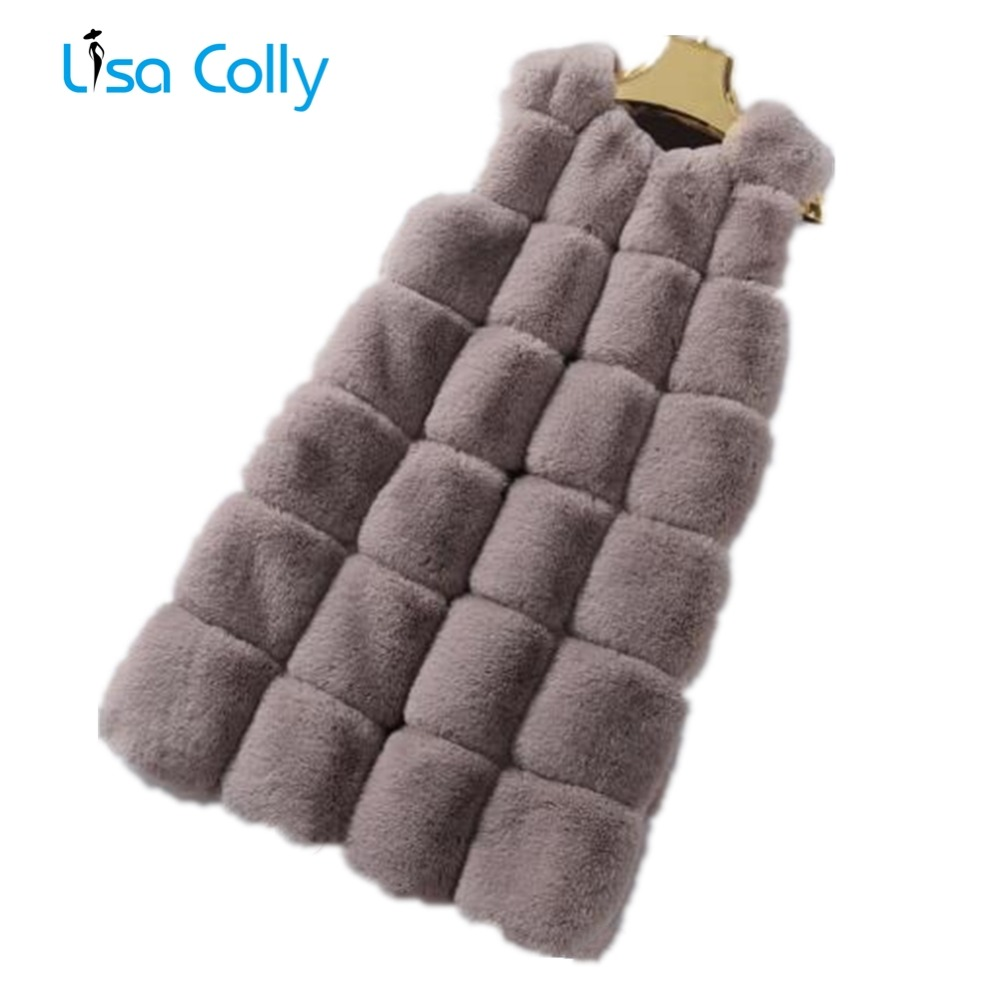 Lisa Colly Women Long Fake Fur Overcoat Winter Faux Fur Vest Coat Faux Rabbit Hair Warm Vest Jackets Women Furs Vest Outerwear
